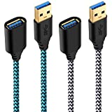 USB Cable Extender, Besgoods 2-Pack 6 ft Braided USB 3.0 Extension Cable A Male to A Female Extension Cord with Gold-Plated Connector, White Blue