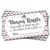 50 Diaper Raffle Tickets Pink Elephant Theme -Girl Chevron Baby Shower Game Activity