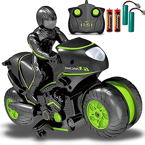 Masefu RC Stunt Car with Extra Batteries, Remote Control Motorcycle Stunt Power Wheel Motorcycle Car - 2.4 GHz High Speed, 360° Spinning Action Drift Racing Motorcycle for Boys Girls 5-12 Years Kids