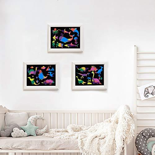 Koogel Kratzbilder Set für Kinder, 50 Große Blätter Regenbogen Kratzpapier mit 4 STK. Einzigartig Schablonen zum Zeichnen und Basteln für Kinder DIY