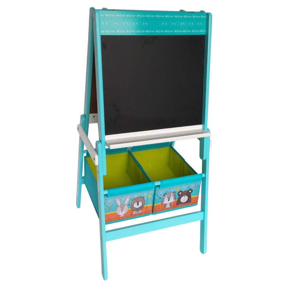 Natsen Kindertafel Standtafel mit Papierrolle + 2 Stoffboxen | beidseitige Schreibtafel Magnettafel + Kreidetafel, Tiere'', 17GD-008, Holz, BxHxT:104 x 55,5 x 55,5cm