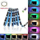 Glückluz Tiras de Luces LED RGB con Mando a Distancia USB Multicolor Retroiluminación Tiras de LED Kit Completo para Decoración del Partido Fiesta Cocina PC Escritorio Monitor Hogar Regalo de Navidad(2M 5050 RGB 60 LEDs IR Remoto) (24 Botón)