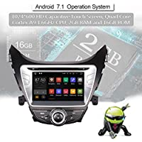 Android 7.1.2 Car GPS Radio Stereo Navigation System DVD Player for Hyundai Elantra 2011 2012 2013 with Bluetooth/SD/USB/Radio/Mirror Link/Quad Core/2GB RAM/Map