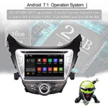 Android 7.1.2 Car GPS Radio Stereo Navigation System DVD Player for Hyundai Elantra 2011 2012 2013 with Bluetooth/SD/USB/Radio/Mirror Link/Quad Core/2GB RAM/Map