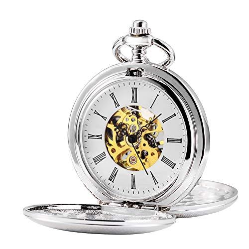 TREEWETO Double Open Skeleton Pocket Watch Mechanical Hand Wind Full Hunter Watch for Men Women