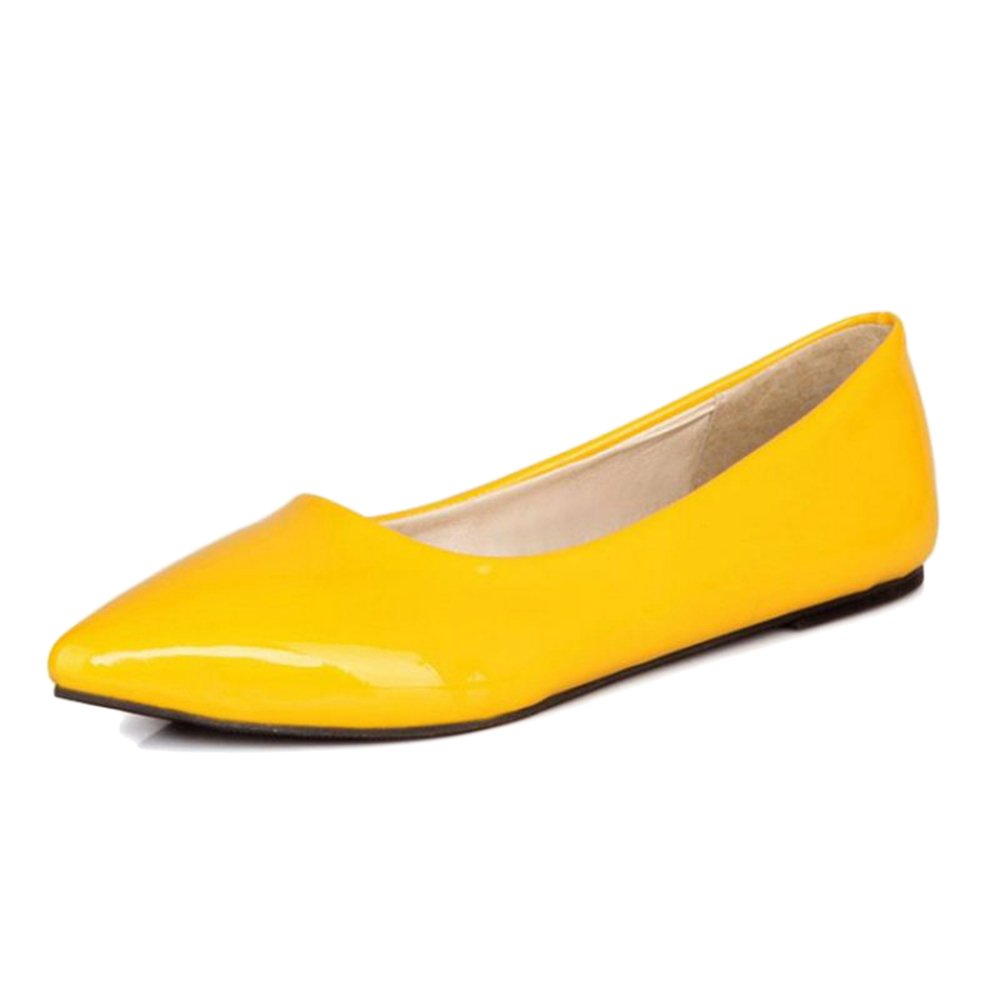 Smilice Women Flats Patent Leather Pointed Toe Slip-on Shoes 6 Colors Available Size 1-13 US B06XCPQKHS 33 EU = US 2 = 21.5 CM|Yellow