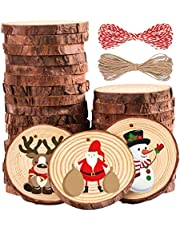 Ywlake Wooden Christmas Ornament to Paint, Unfinished Blank Wood Slices Cutouts Crafts for Kids Toddler Teens Adult DIY Christmas Tree Hanging Decor Decorations