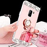 Funyye Soft Mirror Rhinestone Case for Samsung Galaxy A8 2018,Luxury Rose Gold Bling Diamond Ring with 360 Degree Rotating Grip Round Ring Brackets Smooth Surface TPU Silicone Protective Case for Samsung Galaxy A8 2018,Ultra Thin Shockproof Non Slip Back Protective Case for Samsung Galaxy A8 2018 + 1 x Free Screen Protector