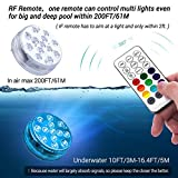 LOFTEK 12 Packs Submersible LED Lights 164ft Far RF Remote Control, IP68 Waterproof Underwater Lights with Magnets, Suction Cup, 13 LED, 3.35 inch Waterproof LED Light for Pool Pond Battery Operated