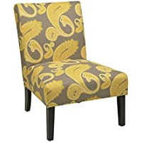 AVE SIX Upholstred Victoria Accent Chair with Solid Wood Legs, Sweden Dijon