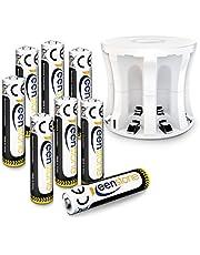 Keenstone AA Akku mit Ladegerät, 1.2V 2400mAh Micro Wiederaufladbar AA Batterien NiMH Akkus, geringe Selbstentladung, Ideal für Blitzgerät Taschenlampe Xbox One Controller Fernbedienung, 8 Stücke