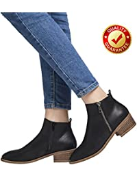 Ankle Boots For Women, Short Boots For Ladies w/Low Chunky Block Stacked Heels Round Toe, Slip On Ankle Boots For Girls, Black Brown Khaki Women Shoes.
