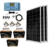 WindyNation 300 Watt (3pcs 100W) 12V Solar Panel Kit w/ LCD P30L Solar Charge Controller + Solar Cable + MC4 Connectors + Mounting Brackets + AGM Battery for RV, Boat, Cabin, Off-Grid 12 Volt