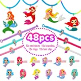Party Supplies for Girls, Mermaid Party Favors Set With Necklaces, Rings, Bracelets, and Keychains for Girls/Boys/Kids Birthday Party 48 PSC