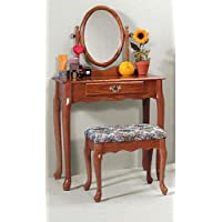 Oak Vanity & Stool Set (Vanity Table, Bench, & Mirror)