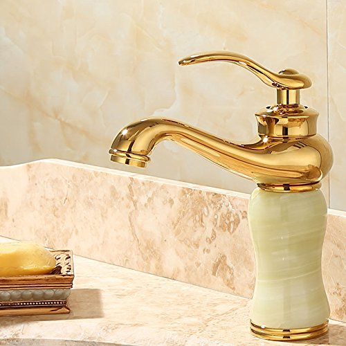 C Lpophy Bathroom Sink Mixer Taps Faucet Bath Waterfall Cold and Hot Water Tap for Washroom Bathroom and Kitchen gold Copper Jade Antique Hot and Cold redation S