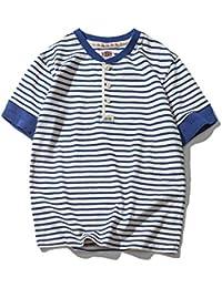 Men's Classic Striped Button Short Sleeve Crewneck Blue & White Cotton T-Shirt