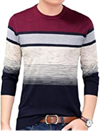 Men Knit Long-Sleeve Stripes Contrast Color Soft Pullover Sweater