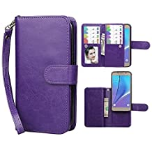Galaxy Note 5 Case,xhorizon TM SR Premium Leather Folio Case [Wallet Function][Magnetic Detachable] Fashion Wristlet Purse Soft Flip Multiple Card Slots Case Cover for Samsung Galaxy Note 5