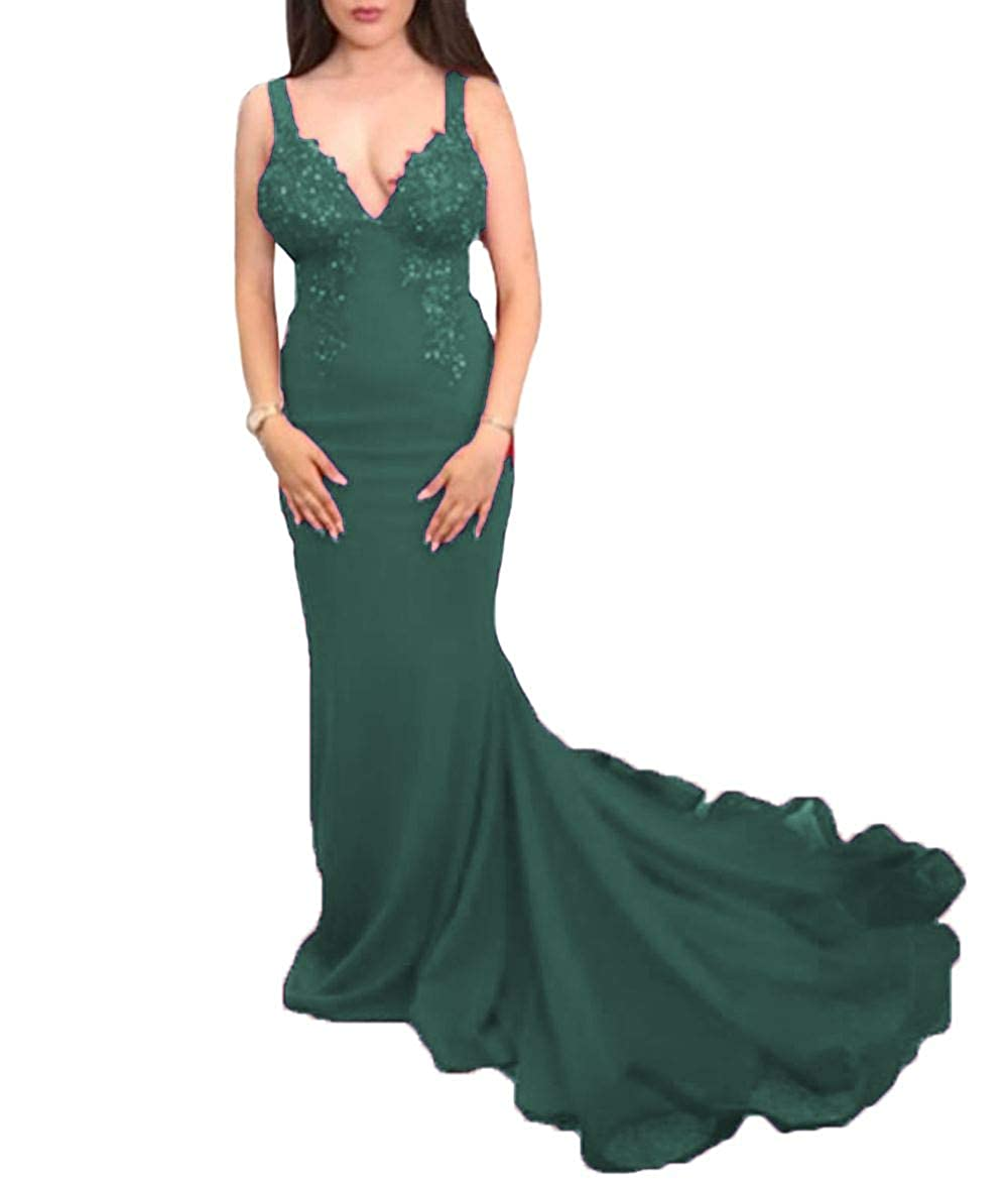 Dark Green Wanshaqin Women's Sexy Mermaid Backless Evening Cocktail Party Dress Events Formal Gown