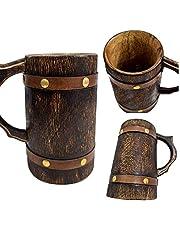 Medieval Inspired Antique Wooden Beer Mug Wood Tankard Coffee Stein Groomsmen Gift Idea Eco- Friendly