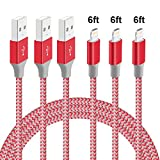 Lightning Charger, M-Better Data Sync Charging Cable?Nylon Braided USB Charger Cord for iPhone 5 5S 5C SE 6 6S 6 Plus 6S Plus 7 7 Plus iPad Mini2 3 4 iPod and More-2Pack 6Ft (Red)