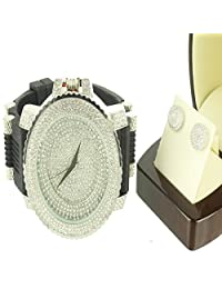 Ice Freeze White Sterling Silver Round Cut Earring Bullet Band Custom Watch Set