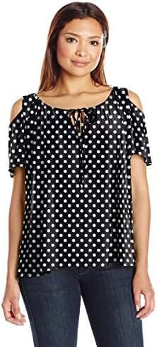 Star Vixen Women's Plus-Size Short-Sleeve Cold-Shoulder Peasant Top