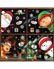 262 pegatinas de copo de nieve de Navidad para cristal, pegatinas de Navidad para decoración de Navidad, copos de nieve, pegatinas de renos de Papá Noel para fiestas