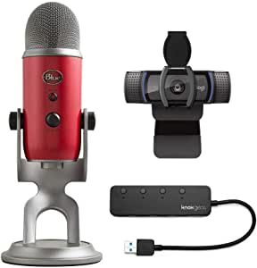 Blue Yeti USB Microphone (Red) Bundle with C920S Pro HD Webcam and Knox Gear 4-Port USB 3.0 Hub (4 Items)