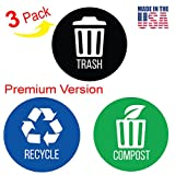 """iTouchless Trash Stickers Premium Vinyl Decals for Trash Can; 3"""" Round Waterproof, Reusable (Set of 3); Indoor/Outdoor"""