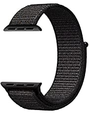 Mifan Official Nylon Loop Band for Apple Watch 44mm/42mm Series 1/2/3/4 Premium Strap Replacement Mesh Soft Breathable Woven Sports Wristband Bracelet Black