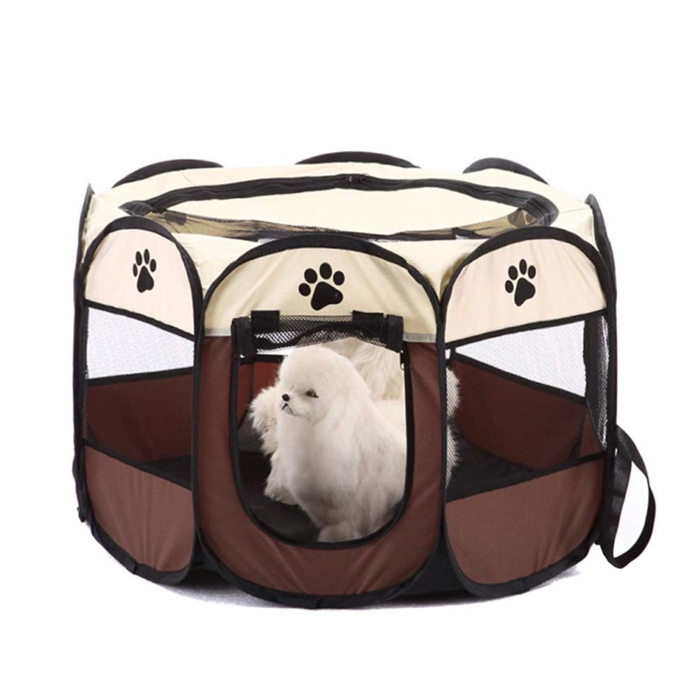 CARBE kennelPortable Foldable Puppy Dog Pet Rabbit Fabric Playpen Crate Cage Kennel Tent Pet Supplies L brown