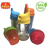 Infant Works Silicone Sippy Cup Lids for Toddlers - Spill Proof - Leak Proof - Fits Any Cup or Bottle - FDA Approved - BPA Free - 100% Food Grade Silicone - Makes Perfect Gift Set - US Supplier