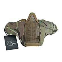 """OneTigris 6"""" Tactical Foldable Half Face Protective Mesh Mask for Outdoor Paintball Airsoft/BB/CS with Adjustable and Elastic Belt Strap"""