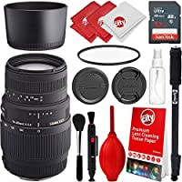 Sigma 70-300mm f/4-5.6 DG Telephoto Zoom Lens for Sony A-Mount Digital SLR Cameras with Sandisk 32gb Essential Photo and Everyday Bundle