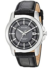 Bulova Men's Precisionist Leather strap Watch Grey 96B158