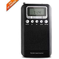 AM FM portable radio, AM FM radio portable with Superior Reception and Clear Sound, battery operated pocket radio with digital alarm clock, 3.5mm Headphone Jack, Stereo Mode, Memory Mode