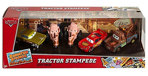 Disney Pixar Cars, Radiator Springs Classic, Tractor Stampede Die-Cast Vehicle Gift Pack [Lightning McQueen, Mater, Gelb Hydraulic Ramone, and 2 Tractors]