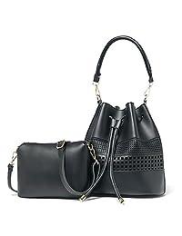 Mn&Sue Sweet Lady Drawstring Hollow Out Pu Leather Bucket Set Bags 2PCS Women Crossbody Shoulder Handbag