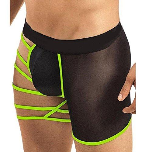 Acizi Calzoncillos tipo boxer para hombre sexy con bolsa elastica suave y hueco por un lado