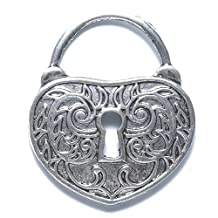 Shipwreck Beads Zinc Alloy Heart Lock with Key Hole, 35 by 40mm, Silver, 10-Pack