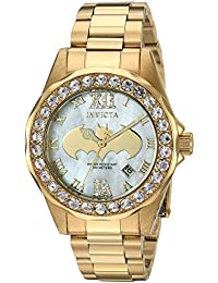 Women's DC Comics Quartz Watch with Stainless-Steel Strap, Gold, 17 (Model: 29304)