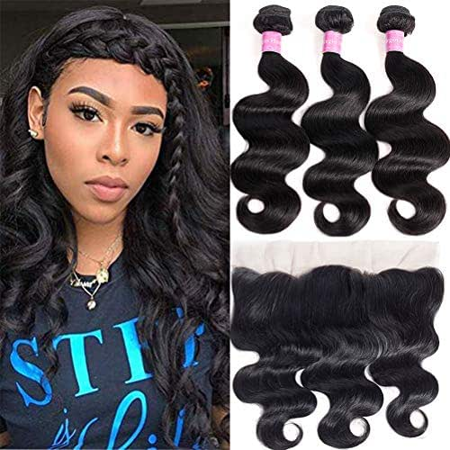 10A Brazilian Body Wave Hair with Lace Frontal Closure(16 18 20+14Frontal,Natural Black)100% Unprocessed bundles with frontal Brazilian Body Wave Human Hair with Body Wave Frontal Closure