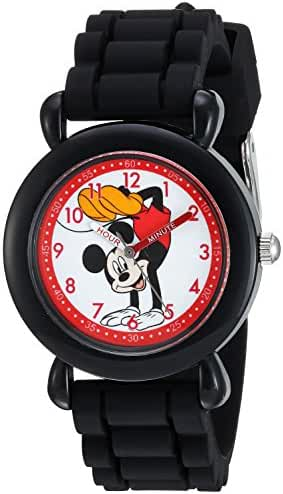 Disney Boy's 'Mickey Mouse' Quartz Plastic and Silicone Casual Watch, Color:Black (Model: WDS000141)
