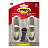 Command FC13-BN-2ES Large Forever Classic Brushed Nickel, 2 Hooks, 4 Strips/Pack