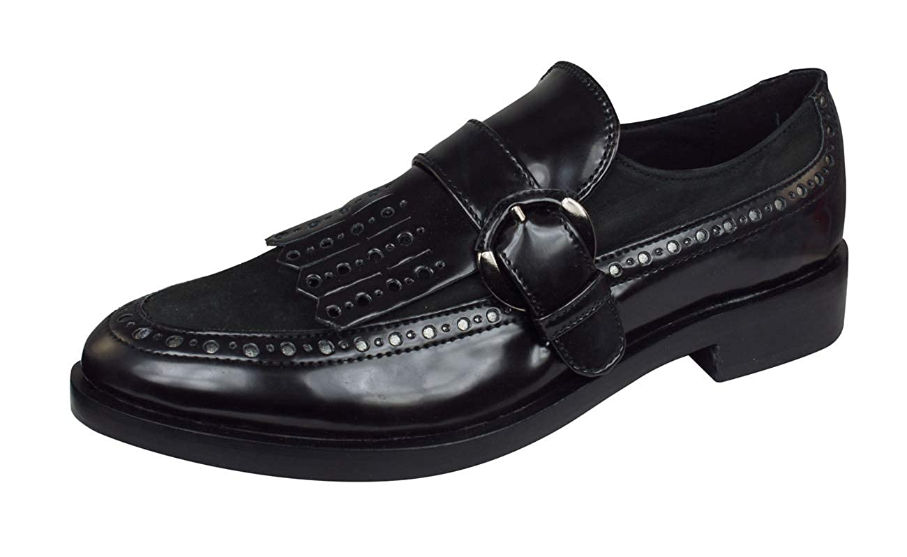 Black Geox D Brogue F Smooth Leather Womens Slip on shoes