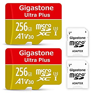 Gigastone 256GB 2-Pack Micro SD Card, 4K Video Recording, 4K Game Pro, Nintendo Switch Compatible, R/W up to 100/60MB/s, Micro SDXC UHS-I A1 V30 Class 10
