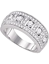 16daa4ba892 Womens Diamond Fashion Band Solid 14k White Gold Cocktail Ring Round  Channel Set Three Row Fancy