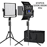 LED Video Light GVM 672S CRI97+ TLCI97+ 18500lux Dimmable Bi-color 3200K-5600K Video Light For Outdoor Interview Studio Portrait Photographic Panel Lighting And Stand Kit